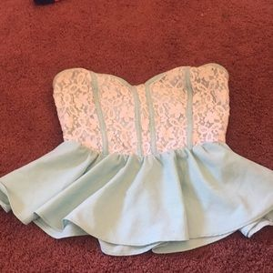 Blue lace strapless top